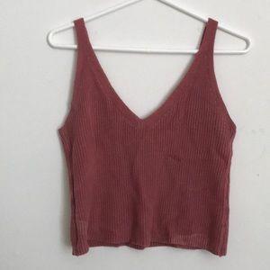 Dusty pink knit crop top